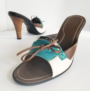 TOD's Green Leather Bow Wood Heel Sandals 9.5